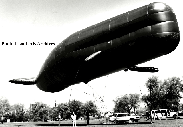 A large whale shaped balloon floats a few feet off of the ground