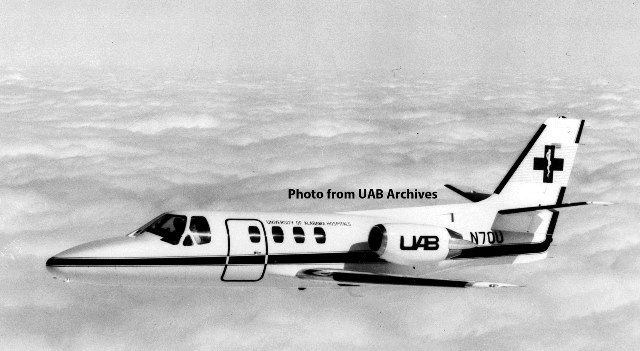 The UAB medical jet in air