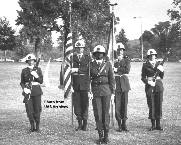 Members of the ROTC Color Gaurd stand at attention