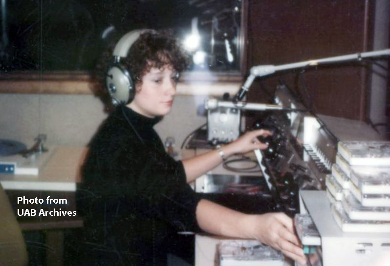 A female dj in the studio