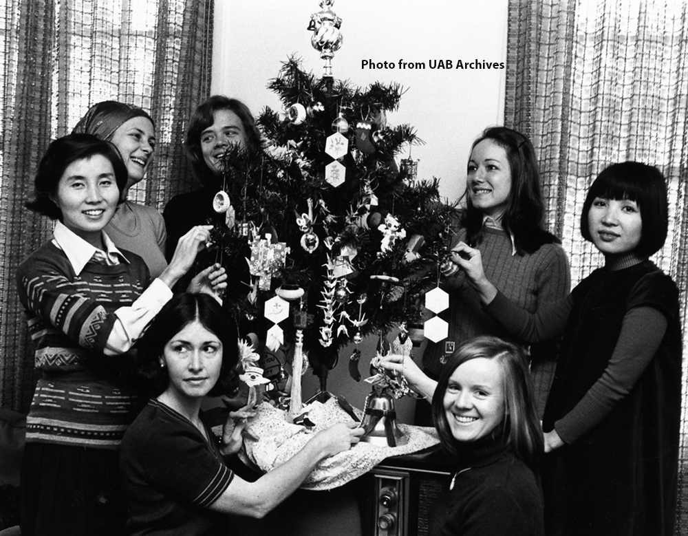 Tree decorating at the Friendship House, 1976