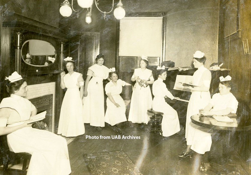 Nursing students enjoy some off time in Hillman Hospital's nursing residence, circa 1910