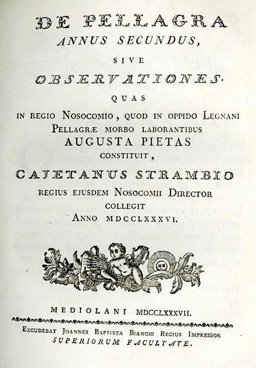 Title page from the 2nd volume of Gaetano Strambio's De Pellagra.